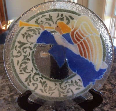 """SIGNED PEGGY KARR FUSED GLASS w BUBBLES ANGEL PLATE 8"""""""