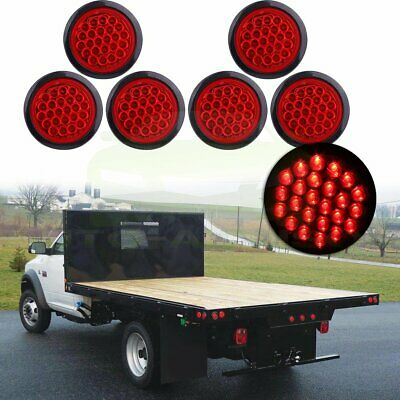 6pcs 4 Inch Round 24-LED Tail Light Reverse Backup Lamp Red For Truck Trailer