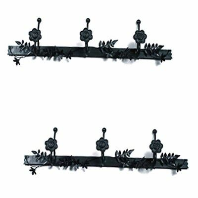 2 Decorative Triple Hook Black Rose Wrought Iron | Renovator's Supply