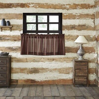 Red Rustic & Lodge Kitchen Curtains Kilton Red Tier Pair Rod Pocket Cotton