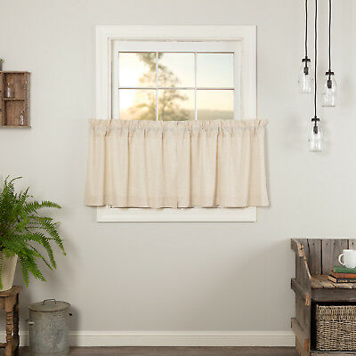 Farmhouse Kitchen Curtains Simplicity Flax Tier Pair Rod Pocket Solid Color