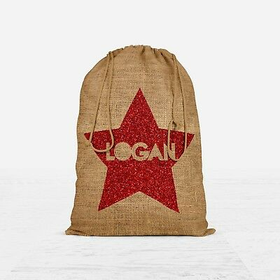 Personalised Name Star Santa Sack Hessian Christmas Gift Stocking Present #XSS1