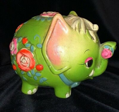 Vintage Holiday Fair 1968 Flower Power Psychedelic Elephant Coin Bank~Piggy