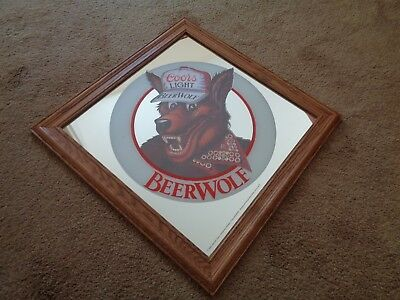 Vintage Beer Advertising Mirrored Sign Coors Light Beerwolf  1986  Man Cave Sign