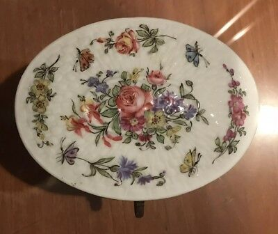Antique Meissen Oval Porcelain, Jewelry, Trinket Box Hand Painted