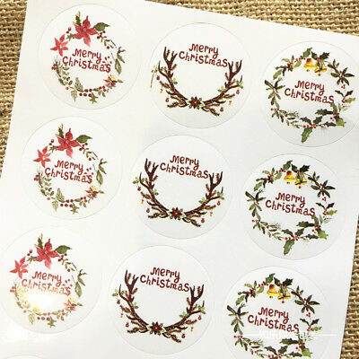 54Pcs Xmas Christmas Blossom Garland Stickers Seal the envelope and gift box