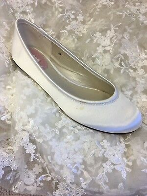 CUTIE, Ivory Satin Flat Ballet Pump Bridal Shoes, Pink By Paradox London