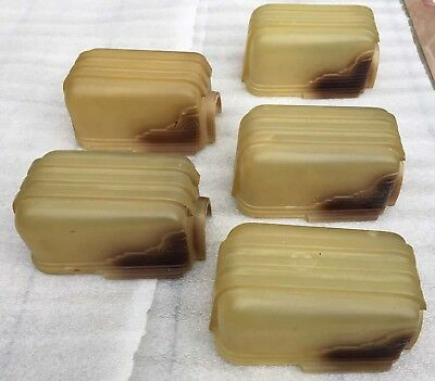 """Vintage 5 Deco Brown Shaded Amber Glass Shades Sconce Fixture Chandelier 6x3.75"""""""