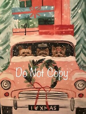 Yorkshire terrier Yorkie PRINT from Painting art Dog Set of 8 CHRISTMAS CARDS