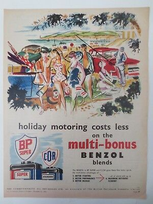 Vintage Australian advertising 1956 COMMONWEALTH OIL REFINERIES bp beach art