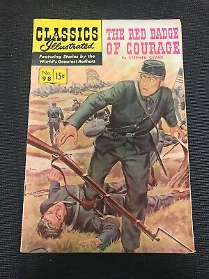 classics illustrated No 98 Hrn 167 Comic Book The Red Badge Of Courage Vf +Grade