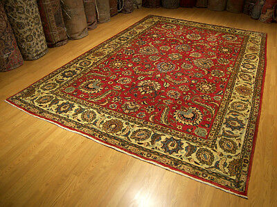 8.3 x 11.7 Handmade Persian Tabrizz Antique1930s Wool Rug _Beautiful Warm Colors
