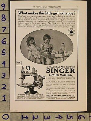 1916 Antique Childs Singer Sewing Machine Model 20 Doll Toy Clothing Ad Zv50