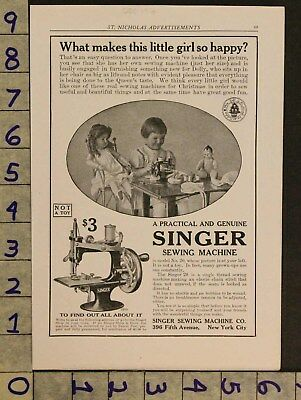 1916 Antique Sewing Machine Singer Toy Doll Holiday Christmas Ad Zv72