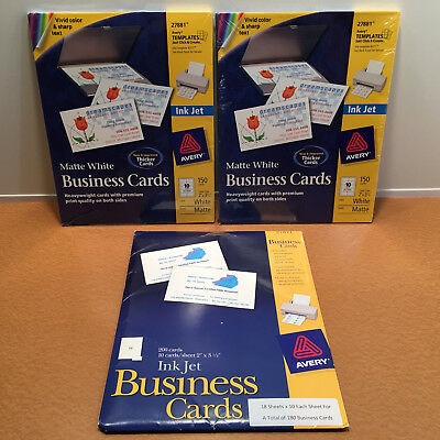 """Lot of Avery Inkjet Business Cards Matte White 480 Total 2"""" x 3.5"""" (27881 27871)"""