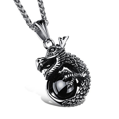 Fashion Unisex 316L Stainless Steel Dragon Chain Pendant Necklace Gift GX1002