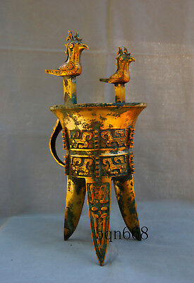 """18"""" Rare old China antique bronze 24k gilt double Owl 3 legs cup glass"""