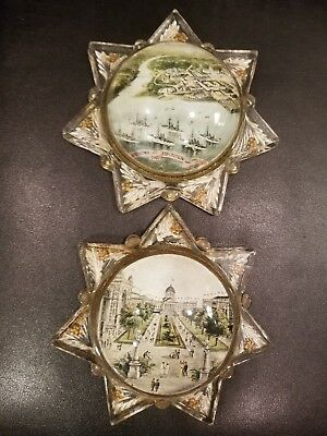 Rare Pair Of 1907 Jamestown Exposition Large Souvenir Glass Table Stands.