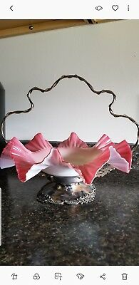 Antique Victorian Brides Bowl in silver plated  stand