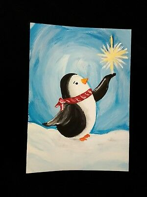 ARTIST TRADING CARD original SIGNED aceo PAINTING penguin bird Christmas winter