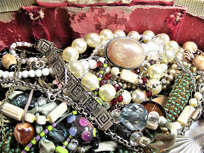 Job Lot Of Vintage Costume Jewellery Necklaces Brooches & Sterling Silver Etc