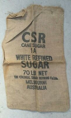 Vintage-Old, Melbourne CSR Cane Sugar HESSIAN BAG Sack Confectionery collectable