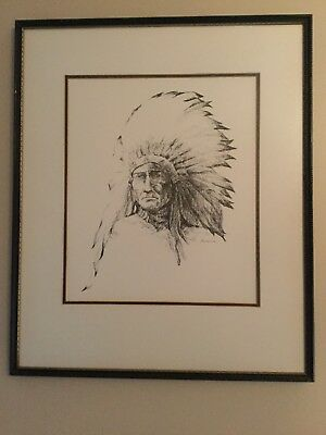 Framed And Matted Native American With Head Dress Art Piece Signed