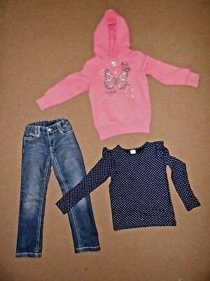 5 x Size 7 girls bulk clothes jeans tops hoodie Gumboots ruffled dress