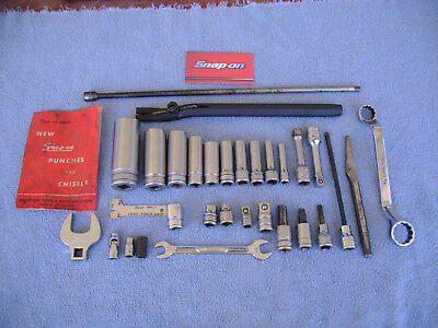 All Snap-on Tools, 31 Pc Lot Sockets,Sheet Metal Cutter, Extensions etc See List