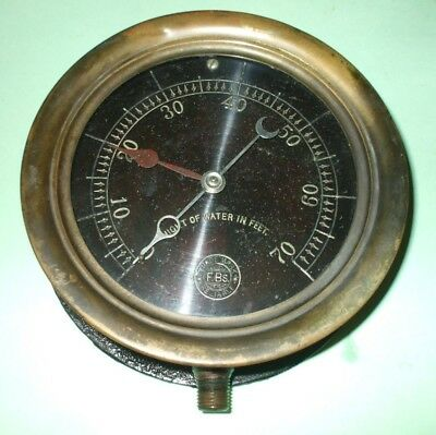 Vintage Antique F.bs. Reliable Presure Gauge Hight Of Water In Feet - Nice
