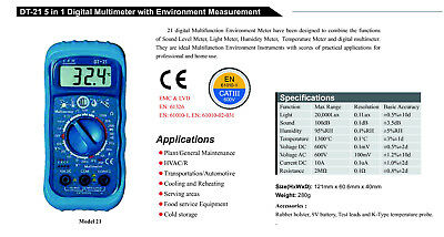 5in1 Thermometer Light Lux Humidity Sound Multi Meter DT-21 DMM Noise Tester NEW
