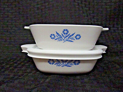 2 Corning Ware Blue Cornflower P-41  Petite Dishes with ONE matching plastic lid
