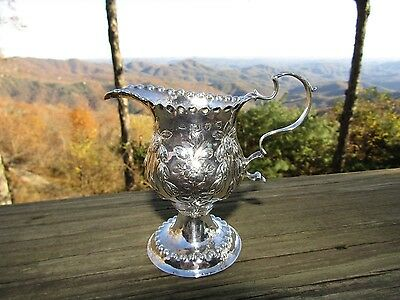 English Sterling Silver Repousee Creamer Jug 1774 William Crowder