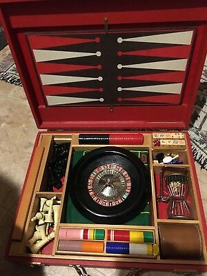Vintage Gaming Set Attache Case Roulette Chess Cribbage Backgammon