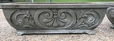 "Set of 2 LARGE Estate Vintage Cement Concrete Flower Planters 29"" x 13"" x 10"""