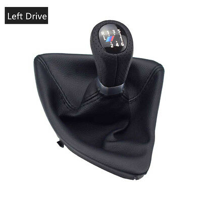 Leather 6 Speed Left Drive Gear Shift Knob Head Boot Cover For BMW E87 X1