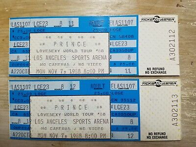 Vintage Prince 1988 Unused Concert Tickets The Los Angeles Sports Arena Lovesexy