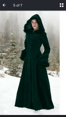 Winter Green Hooded cloak with faux fur trim around hood and sleeves
