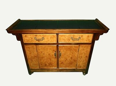 Vintage Asian Chinoiserie Burl Wood front Sideboard Buffet Dry Bar by Bernhardt