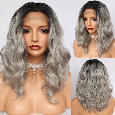Women's Fashion Synthetic Hair Lace Front Wigs Short Wavy Full Wigs Ombre Gray