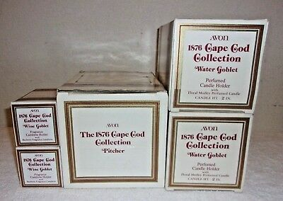 Avon 1876 Cape Cod Collection Ruby Pitcher Water And Wine Goblets NIB...5 PIECES