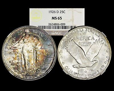 1926 D Standing Liberty Quarter 25C  NGC MS65 Crescent Rainbow Toning