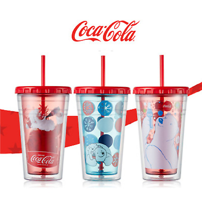 Coca-Cola Graphics Chiller Water Bottle Portable Cup Plastic Straw 473ml (17oz)1