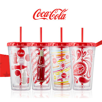 Coca-Cola Graphics Chiller Water Bottle Portable Cup Plastic Straw 473ml (17oz)2