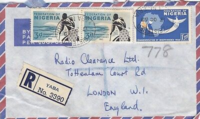 Q 3709 Yaba Nigeria reg  Oct 1960 air cover UK; 1/9d rate, 3 stamps