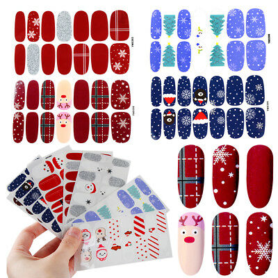 Winter Sticker Nails Art Christmas Snowflakes Gel Polish Wraps Nail Decals New