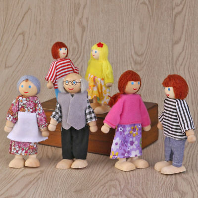 6 Pack Wood Wooden House Family People Dolls Kids Children Pretend Play Toy Gift