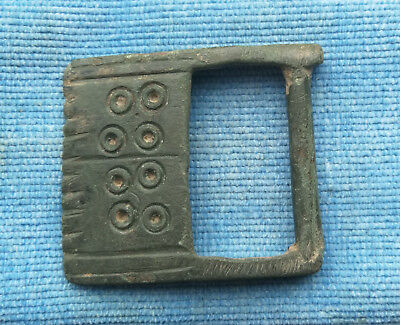 "Genuine Ancient Viking buckle bronze ""Cosmic Solar Rings"" Green Patina Very Rare"