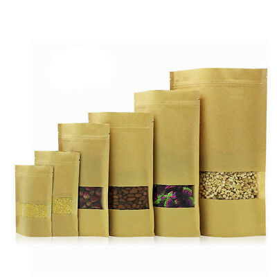 Resealable Sealed Bags Zip Lock Kraft Paper Foil Pouch Stand Up Heat Food Grade
