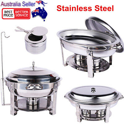 Stainless Steel Bain Marie Chafing Dishes Buffet Food Warmer Heater Pan Tray Set